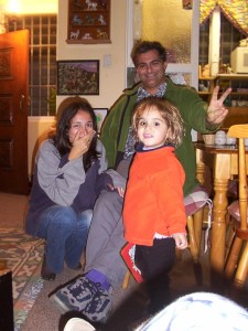 Paul with cousin Annaliese and daughter Eva at the property for Xmas 2002